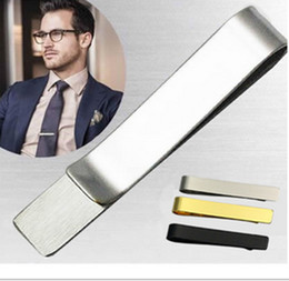 Wholesale Pins Suit - Stainless Steel Tie Clip Pins Bars Golden Slim Glassy Necktie Business Suits Accessories TI01