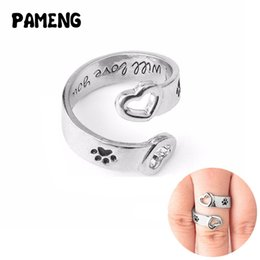 """Wholesale Personalized Pet Jewelry - Pameng Dog Paw Print Heart Wrap Around """"I will love you forever"""" Hand Stamped Personalized Rings Love Pet Memorial Jewelry"""