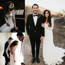 Wholesale Sexy Hochzeitskleid - Attractive Hochzeitskleid Lace Wedding Dresses Long Sleeve Pluning Neckline Backless Sheath Bridal Gowns Full Length Custom Made Wedding Dre