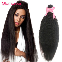 Wholesale Human Hair Yaki Wefts - Glamorous Brazilian Human Hair Kinky Straight 1 Piece Virgin Indian Malaysian Mongolian Hair Wefts Light Yaki Hair Weave for black women