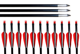 "Wholesale Recurve Archery Bows - 12pcs pack,31.5""30""29""28"" Archery Nocks Arrows Fiberglass Target Practice Arrow for Compound &Recurve Bow Practice"
