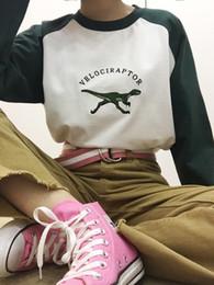 Wholesale Longsleeve Woman - Wholesale- Velociraptor longsleeve dinosaur embroidered harajuku korean ulzzang kawaii vintage retro tumblr