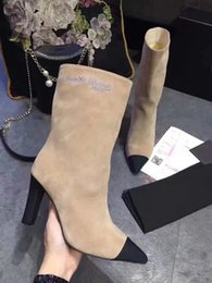 Wholesale Brown Ankle Boot Chunky Heel - Suede High heels Women's Boot Sexy Pointed toe t show Half Ladies Booties New 2018