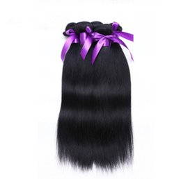 Wholesale Brazilian Virgin Remy Straight 5a - Factory price grade 5A #1 jet black Wholesale Straight brazilian peruvian 100%Virgin Human Hair Weave 50g 3 Bundles lot Hair Extensions