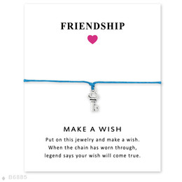 Wholesale Key Charms For Bracelets - Silver Tone Key Charm Bracelets & Bangles Gifts For Women Girls Adjustable Friendship Statement Jewelry With Card