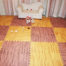 Wholesale Wood Baby Mobile - 16PCS pack baby wood grain foam mat pro-enviroment practical waterproof carpet bedroom creeping mat Link closely and high quality