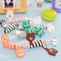 Wholesale Electric Wires - Cute Cartoon Earphone Wire Cord Cable Winder Organizer Holder for iPhone 5 Tablet MP3 MP4 PC Electric Cable winding thread tool