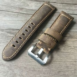 Wholesale brown leather strap 24mm - Wholesale-Handmade 22mm 24mm Vintage Brown Italy Calf Leather Strap, Retro Watchband For Pam And Big Watch,Free shipping