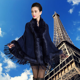 Wholesale Knitted Rabbit Fur Cape - Wholesale- 2016 women's fashion luxurious fur wool sweater cape Rabbit Fur 5 colors Poncho outerwear plus size Fur coat