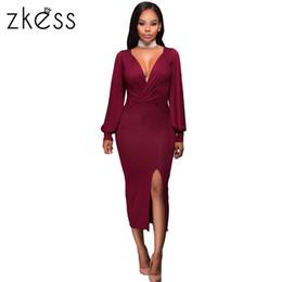 Wholesale Women S Sleeve Bodice Dress - New Purplish Red Deep V Neck Ruched Bodice Slit Sleeves Midi Dress Sexy dress women jurken vestido de festa 2017 LC61413 17414