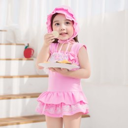 Wholesale Cute Pink Swim - 2017 New Girls Swimwear Cute Summer Hot spring Children Swimming Bowknot Lace Edge One-Pieces With Swim Cap 2pcs Set kids Swim Sets A6044