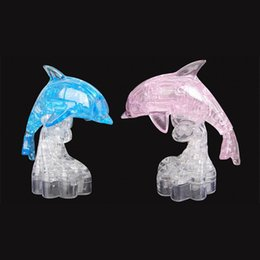 Wholesale Crystal Puzzle Flash - Wholesale-35pcs set LED Flash Dolphin 3D Crystal Puzzle DIY 3D Stereoscopic Dolphin Puzzle Toys for Adults & Children Sweet Wedding Gifts