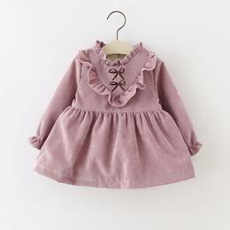Wholesale Long Sleeved Velvet Gowns - 2016 Winter Plus velvet warm Corduroy Toddler Pleated dress Ball Gown dress Folding 0-2T long-sleeved Baby girl dress
