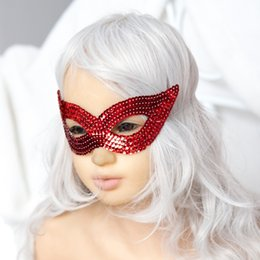 Wholesale Mask Sex Parties - Masquerade Christmas party Performing mask Sequin mask with eye mask sex toys for adult Variety of colors bondage sex products