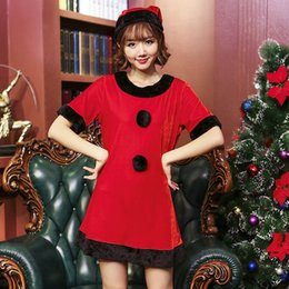 Wholesale Small Christmas Balls - The New Japanese Christmas Dress Small Stage Costumes Round Neck In The Sleeve Black Plush Ball Dress