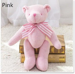 Wholesale Teddy Bear Girl Boy - Kids Bear Plush Dolls Toy Baby Stuffed Bowknot Knitted Bear Toys Girl Boy Creative Christmas Party Gifts Toy GXT 001