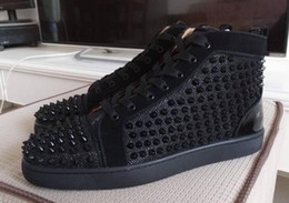 Wholesale Casual Black High Top Shoes - MBSn998X Size 35-47 Men Women Black Sand Net With Spikes High Top Lace Up Red Bottom Fashion Sneakers, Unisex Brand Comfortable Casual Shoes