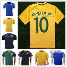 Wholesale Custom Team Shorts - Best Quality Brazil Soccer Jersey Mens Kids 2017 2018 Football Camisa de futebol Brasil Neymar Oscar Home Away Jerseys Custom National Team