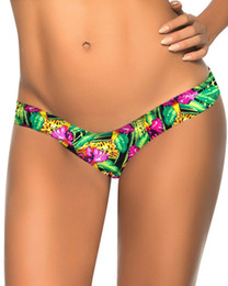 Wholesale Tanga Bikinis Swimwear - 2018 Sexy Skull Print V Thong Separates Swimsuit Women Board Shorts Swimwear Bandage Bathing Suit Brazilian Tanga Bikini Bottom S-XL