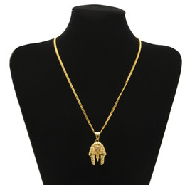Wholesale 18k Pure Gold Necklace - Egyptian Pharaoh Cleopatra Pendant Ancient Egypt Jewelry Hip Hop Necklace Link Chain 24k Pure Gold Plated Necklace