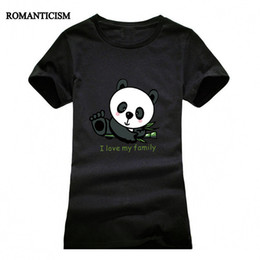 t-shirt en gros pour imprimé animal Promotion Wholesale- Romantisme Lovely Panda Print T shirt Femme Cool Punk Animal Fashion Short Sleeve T-shirts pour femme Cute Tops Tees