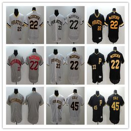 Wholesale Pittsburgh Embroidery - Elite Men's Pittsburgh Pirates #22 Andrew McCutchen #45 Gerrit Cole #25 Gregory Polanco #6 Starling Marte Black Baseball Stitched Jerseys