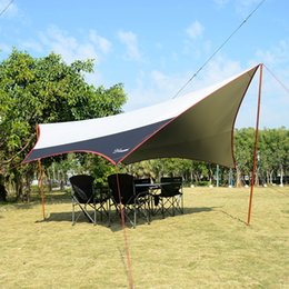 Wholesale Iron Tent - Wholesale- L size 6*5.5m & M size 5*4.7m aluminum & iron pole super large size new design silver coated tarp gazebo sun shade tent awning