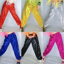 Wholesale Kids Hip Hop Dance Pants - Adult man women Laser Reflective Sequins Jazz hiphop hip-hop Modern Dance Pants Trousers for big kids boy and girls 7colors