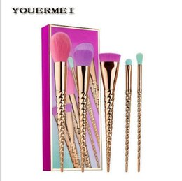 Wholesale Synthetic Mix Hair - 2017 Hot sell Tarte Makeup Brush 5pcs Set Gold Christmas Brush Mixed Foundation Cream Hidden Silhouette Composition Brush Free shipping
