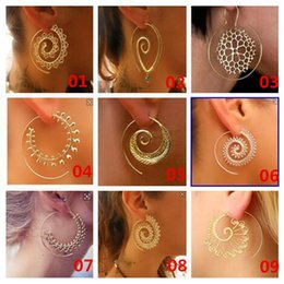 Wholesale Fake Gold Jewelry Wholesale - 9 Style Women Personality Big Earrings Vintage Tribal Indian Love The Spiral Hoop Earring Gold & Silver Charming Fake Ear Jewelry A163