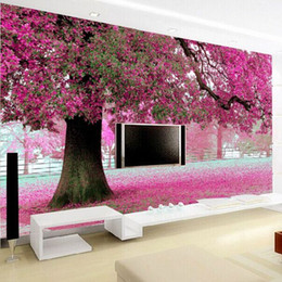 Wholesale Modern Flower Wallpaper - Wholesale- Purple flower tree 3D wall papers Cherry Blossom Wallpaper Murals for TV backdrop Wedding Room papel de parede