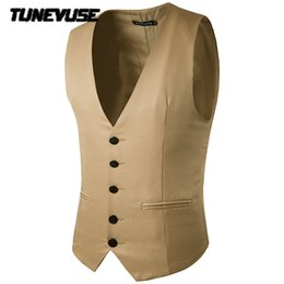 Wholesale Men S Formal Coats - Wholesale- Male Cotton Solid slim dress vests Men's casual sleeveless formal business jacket suit vest Men waistcoat coat Gilet Homme yelek