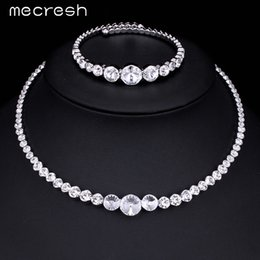 Wholesale Crystal Chokers For Brides - Mecresh Fashion Clear Top Crystal Jewelry Sets Silver Plated Choker Necklace Bracelet Wedding Jewelry Sets for Brides MTL418