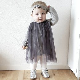 Wholesale Long Sleeve Girls Frock - 2017 ins autumn baby girl gray long sleeve gauze tulle tutu dress babies frock design summer dresses