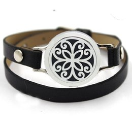 Wholesale Hearts Padded - Hearts 316L Stainless Steel Perfume Locket Leather Bracelets Pets Jewelry For Essential Oil Diffuser Pads