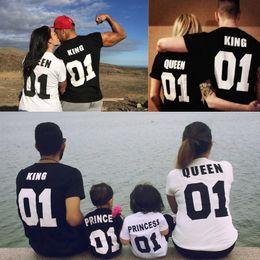 Camisas do rei do algodão on-line-Venda Por Atacado top quality rainha do rei casal crianças camisas de manga curta carta impressão casal tops hip-hop par t-shirt de algodão
