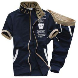 Wholesale Mens Loose Tracksuit - Wholesale-Tracksuit Mens Set 2016 Summer Sportswear Casual Brand Men Shorts Sets Short Sleeve Sweatshirt+Pants Sweat Suit Sudaderas Hombre