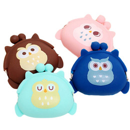 Wholesale Owl Changing Bag - Wholesale- candy color owl bunny cat silicone coin purse kids gift cartoonTrendy baby Mini coin bag lady change purse women smart wallets