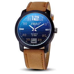 Wholesale Automatic Tachymeter - Leather Dress Wristwatches Fashion C of the steel belt movement quartz clock men BLUE AND BROWN Tachymeter Date Leather Sport automatic date