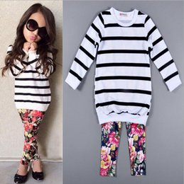 Wholesale Girls Floral Pants Leggings - 2017 Girls Baby Childrens Clothing Sets Striped T-shirts Floral Pants 2Pcs Set Spring Autumn Girl Kids Leggings Boutique Clothes Outfits