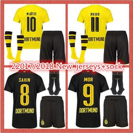 Wholesale Wine Red Boots - 2017 2018 Adult Set + Socks Men's Football Boots Short Sleeve Shirt SAHIN MOR M.GOTZE REUS GUERREIRO Black Soccer Shirt Custom Name and Numb