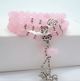Wholesale Crystal Butterfly Bracelet Pink - Europe and the United States new natural pink crystal lovely peach butterfly crystal gourd women bracelet
