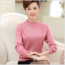 Wholesale Flower Blouse Puff Sleeves - Wholesale-Middle-aged cashmere sweater women fashion flower embroidery floral knitted wool lady top blouse plus size pullover jumper