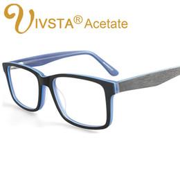 Wholesale Felt Frames - IVSTA Handmade Glasses Wood Pattern Design feel like Wood Spectacle Myopia Eyeglasses Men Optical Lenses Acetate Glasses Frames