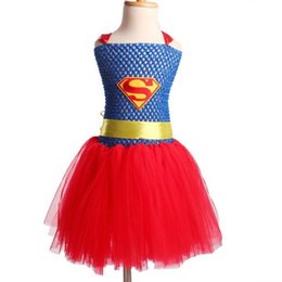 mignonne fille cosplay Promotion 2T-7T Kids Supeman The New Cute Red Girl Dress Cosplay Tutu Robe Costume Halloween Robe pour enfants Livraison gratuite