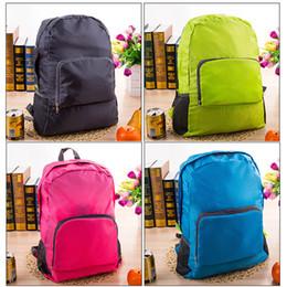 Wholesale Wholesale Nylon Backpack - 100pcs Nylon Foldable Folding Collapsible Portable Zipper Travel Hiking Backpack Outdoor Sports Shoulder Bags 4colors
