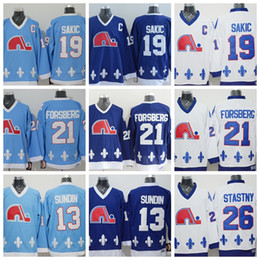 Wholesale Peter Forsberg Jersey - Quebec Nordiques Throwback Jerseys 13 Mats Sundin 26 Peter Stastny 19 Joe Sakic 21 Peter Forsberg Blue White CCM Ice Hockey Jersey