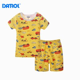 Wholesale Breeches Clothing - 2pieces lot 6M-36M DANROL Baby Boy Girl Clothes Sets Summer Short Sleeve Newborn Infant Bodysuit With Pants Kids Print Breech DR0191