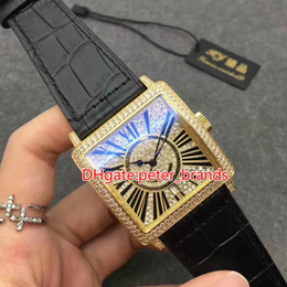 Wholesale Watch Straps Covers - Diamonds Square case automatic mens brands watches waterproof leather strap fashion luxury wrist watch glass back cover