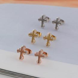 Wholesale Wholesale 14 K Gold - South Korea simple think you yoon eun hye set small cross diamond 14 k rose gold plated earrings earrings stud earrings titanium steel